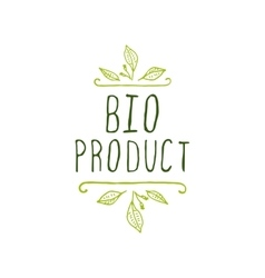 Bio product - label on white background vector image vector image