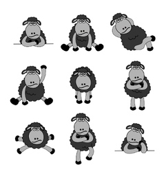 Black sheep set vector