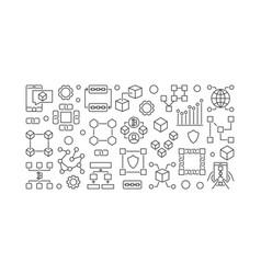 Blockchain line banner block-chain vector