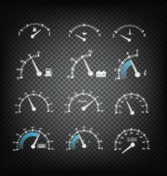 car dashboard control panel elements collection vector image