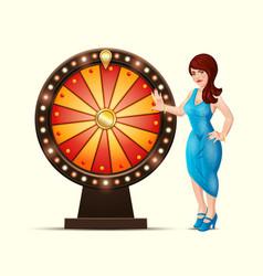 cartoon of a lucky woman turns vector image