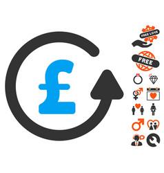 Chargeback pound icon with valentine bonus vector