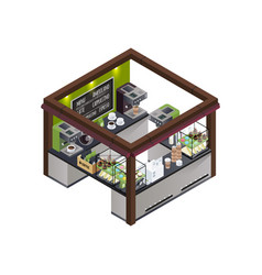 coffee kiosk isometric composition vector image vector image