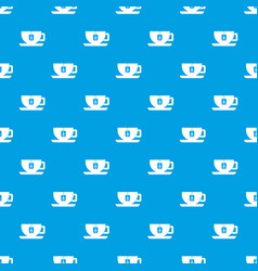 cup of tea with tea bag pattern seamless blue vector image vector image