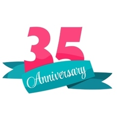 Cute template 35 years anniversary sign vector