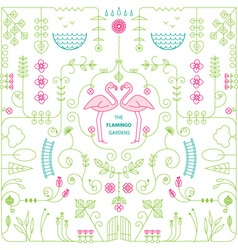 flamingo garden vector image vector image