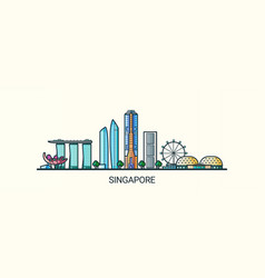 flat line singapore banner vector image