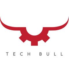 Gear with bull horns technology concept vector