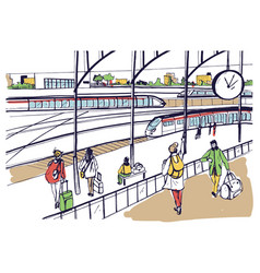General view of railway platform with trains and vector