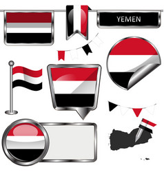 Glossy icons with flag of yemen vector