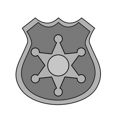 Gray color silhouette police badge with star vector