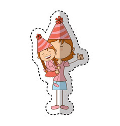 little kid and mom with party hat icon vector image
