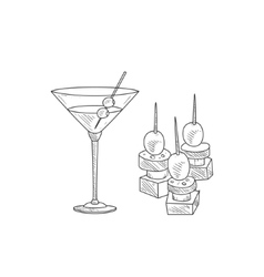 Martini cocktail with olive and canape hand drawn vector