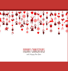 merry christmas vintage decoration elements in red vector image