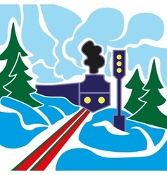 Old train and winter landscape vector