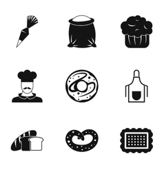 Patisserie icons set simple style vector