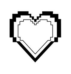 pixel cartoon heart icon image vector image