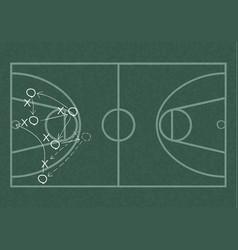 Realistic blackboard drawing a basketball game vector