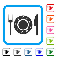 restaurant tableware framed icon vector image