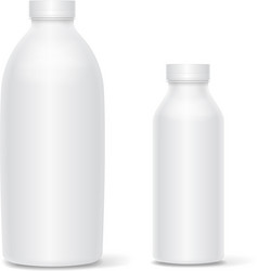 Set of blank white bottles for milk or vector image vector image