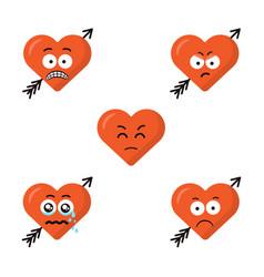 Set of flat cute cartoon emoji heart faces with vector