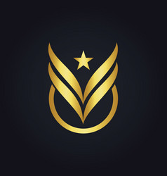 star fly wing victory abstract gold logo vector image