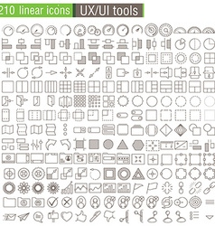 thin line icons set for UXUI prototypes vector image