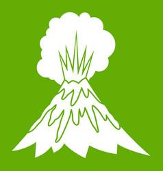 volcano erupting icon green vector image vector image