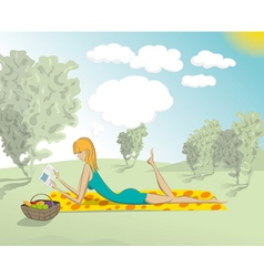 Woman lying down in the park with book vector