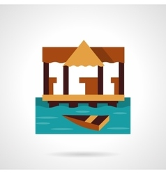 Wooden jetty flat color design icon vector