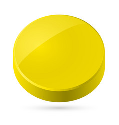 yellow disk isolated on white background vector image vector image