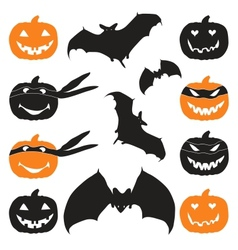 Halloween pumpkin head and bat vector