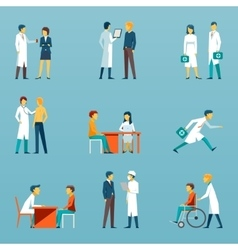 Medical staff flat icons health care set vector