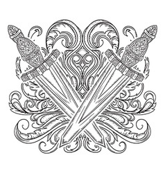 Medieval sword and decorative baroque ornament vector