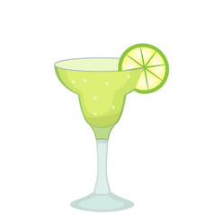 Cocktail glass for margarita and tequila with lime vector
