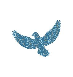 pigeon bird color silhouette animal vector image