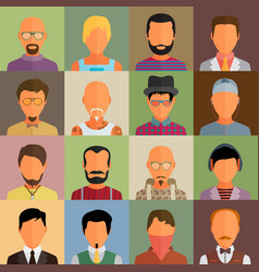 Set of people icons in flat style with faces boy vector