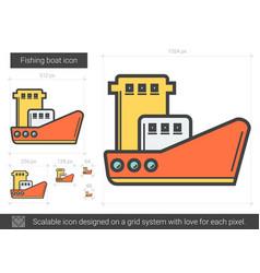 Fishing boat line icon vector