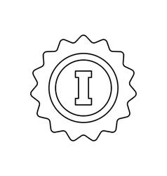 1st place rosette line icon vector