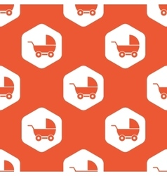 Orange hexagon pram pattern vector
