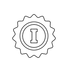 1st place rosette line icon vector