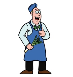 Greengrocer with leek and his thumbs up vector