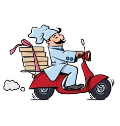 Funny pizza chef on scooter Pizza delivery vector image