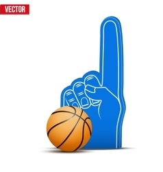 Basketball sports fan foam fingers and ball vector