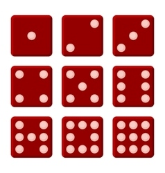 Red Dice Set on White Background vector image