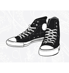 black sneakers vector image