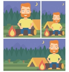 Man sitting on log in the camping vector image