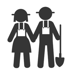Couple farmers shovel icon vector