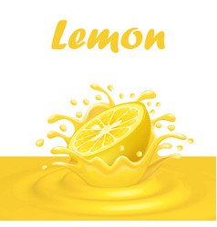 A splash of juice from a falling lemon and drops vector