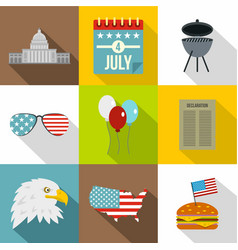 american patriotic day icon set flat style vector image